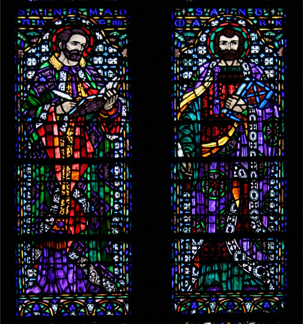 stained glass detail - Saints Paul Mark and Matthew