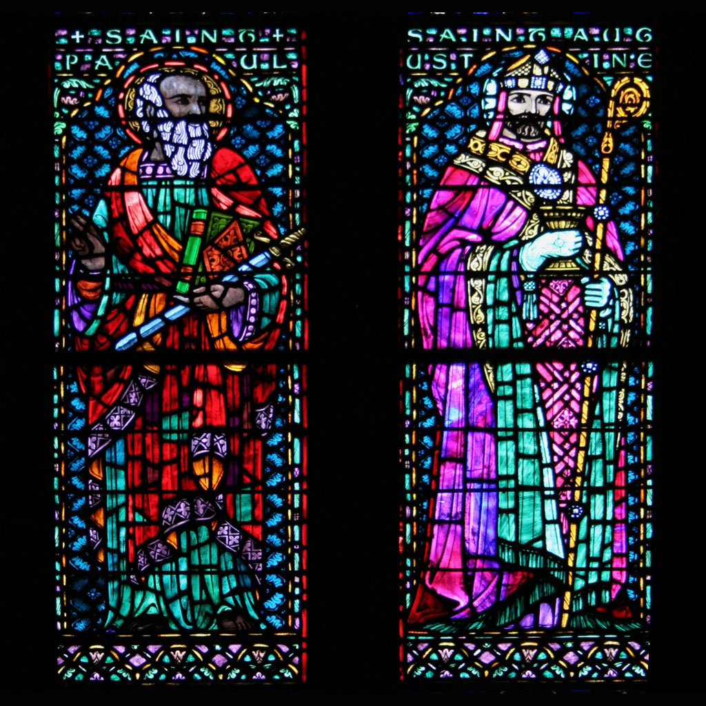 stained glass detail - Saints Paul and Augustine
