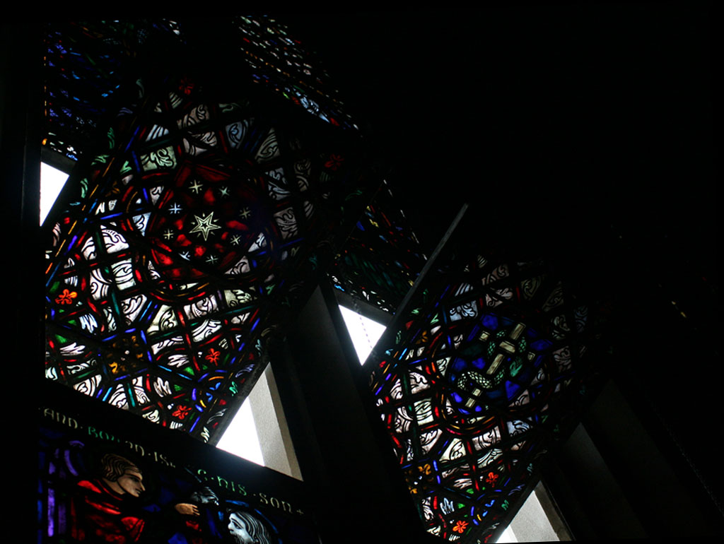 stained glass from the North windows, part of sequence representing faith through sacrifice, the law, courage and wisdom